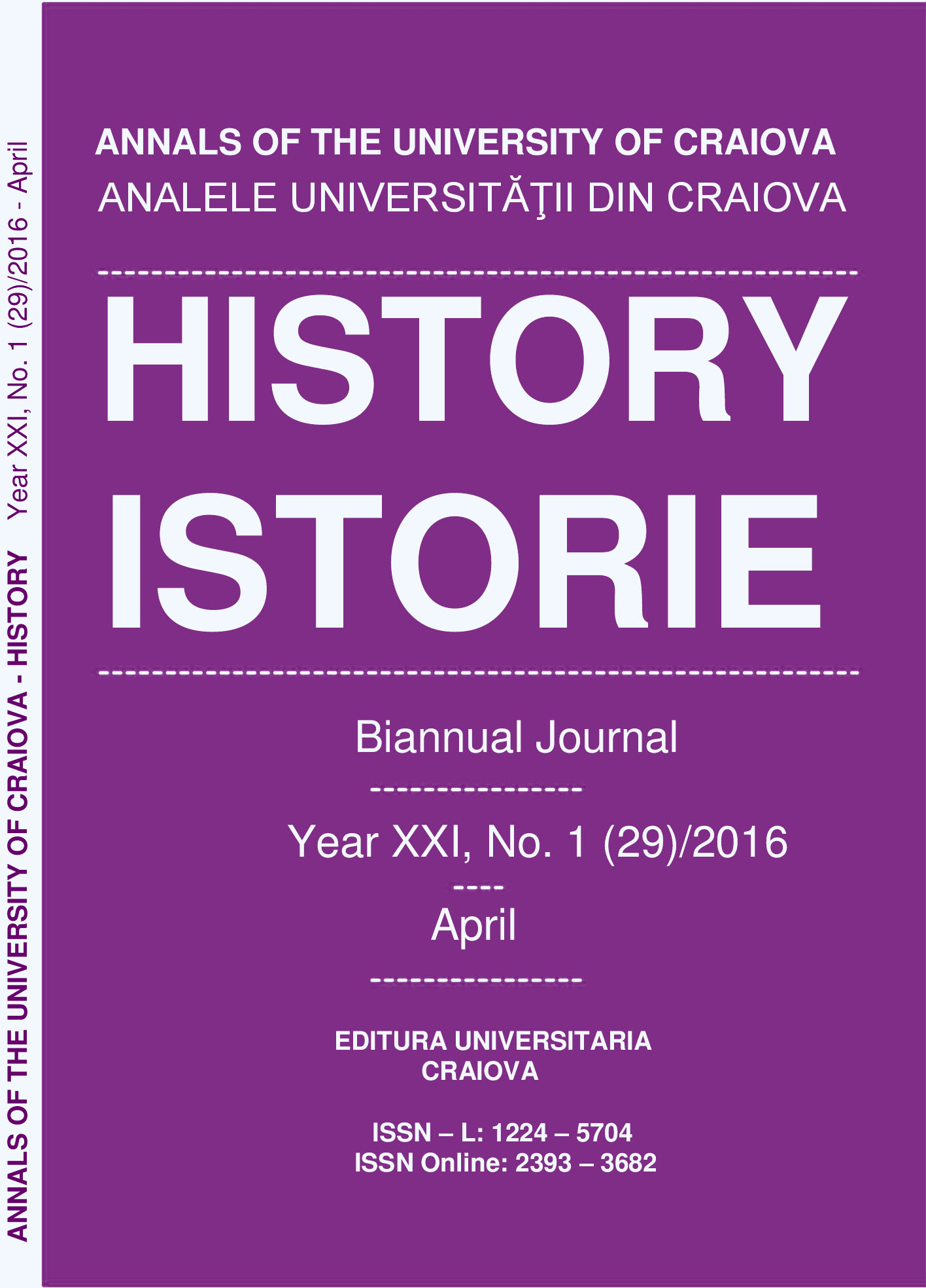 ANNALS OF THE UNIVERSITY OF CRAIOVA Year XXI, No. 1(29)/2016